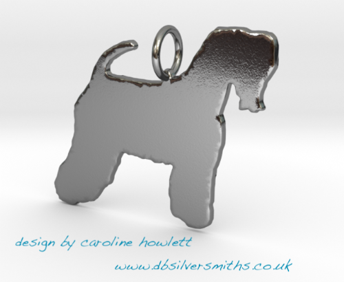 Soft coated  Wheaton  dog pendant  necklace sterling silver handmade